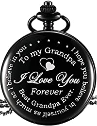 Grandpa Pocket Watch Gift, Father's Day Gift Meaningful Grandpa Birthday Christmas Gift (Grandpa Gifts, White Dial)