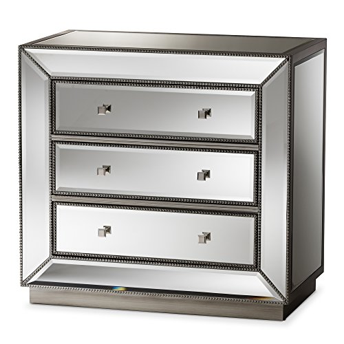 Baxton Studio Chests of Drawers/Bureaus, 3-Drawer Chest, Silver Mirrored