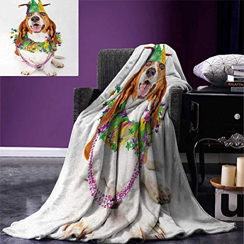 Anniutwo Mardi Gras King Flannel Blanket Happy Smiling Basset Hound Dog Wearing a Jester Hat Neck Garland Bead Necklace Weave Pattern Extra Long Blanket 90