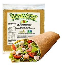 Paleo Coconut Wraps, (8 Count), Gluten Free, Vegan, Curry Flavor -- The Pure Wraps