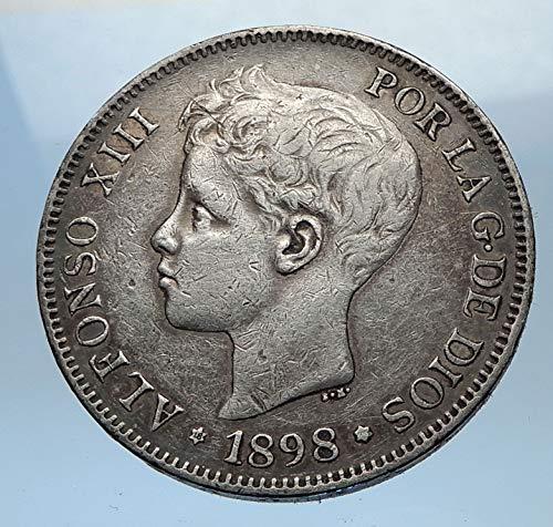 ES 1898 1898 SPAIN - Antique AR 5 Pesetas Coin - Spanish Good