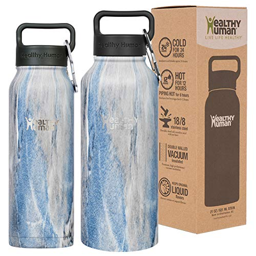 Healthy Human Insulated Stainless Steel Water Bottle Stein - Cold 24 Hours/Hot 12 Hours - Double Walled Vacuum Flask with Hydro Guide & Carabiner - 32 oz Stone Blue (Life Stainless Steel)