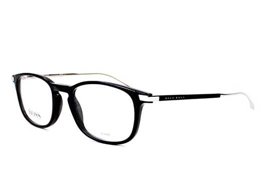 Amazon.com  Optical frame Hugo Boss Acetate Black - Silver (BOSS ... ecc024fdd0fe