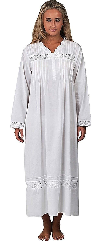 Blanc Elizabeth Blanc L Inconnu The 1 for U 100/% Coton Manches Courtes Femmes Nuit 6 Tailles