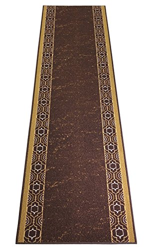 Custom Runner Trellis Border Roll Runner 26 Inch Wide x Your Length Size Choice Slip Skid Resistant Rubber Back 2 Color Options (Beige Brown, 12 ft x 26 in) -