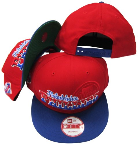 Philadelphia Phillies Red/Blue Two Tone Plastic Snapback Adjustable Plastic Snap Back Hat / Cap