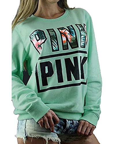 Huiyuzhi Women's Mix Color Long Sleeves Pullover Letters Printed Sweatshirt (S, Pea Green)
