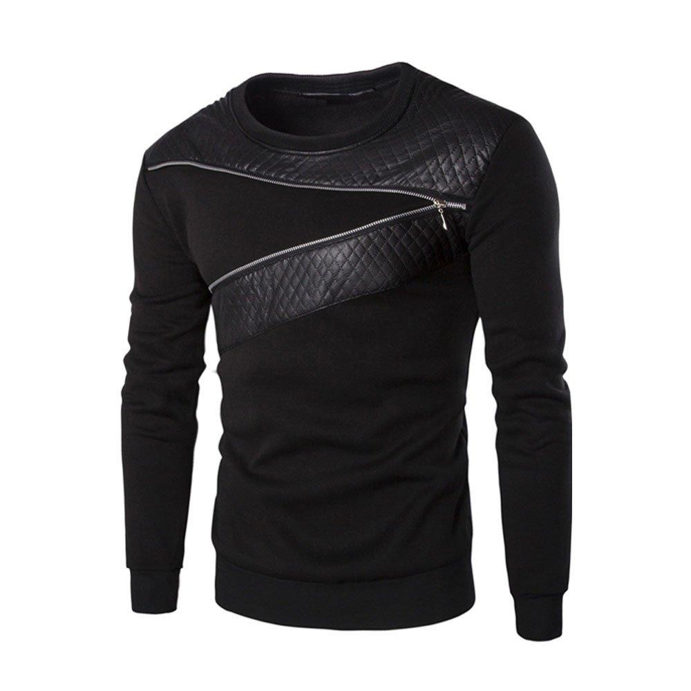 REYO❤Men's Coats Clearance, Men Winter Warm Splicing Leather Outwear Sweater Blouse Outdoor Sweatshirts Tops Jacket