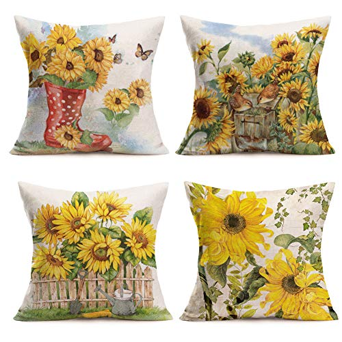 Qinqingo Throw Pillow Covers Vintage Sunflower Throw Pillow Case Cushion Cover Decorative Cotton Linen Pillowcase Sofa Home Decor Set of 4 (4pc Sunflower)