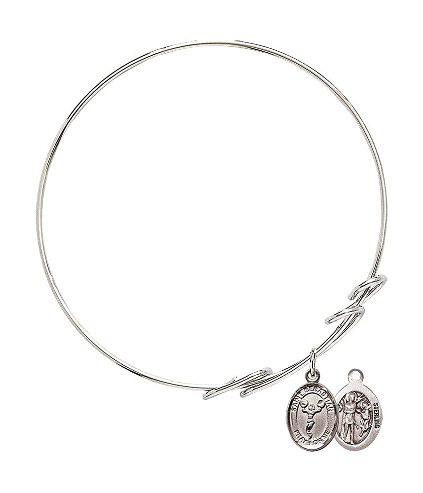 St Sebastian Cheerleading Charm On A 7 1//2 Inch Round Double Loop Bangle Bracelet