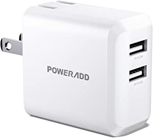 POWERADD USB Wall Charger Adapter, 24W Dual Port iPhone Charger, Block, Power Adapter Compatible with iPhone 12/11/Pro/XS/XR/X/SE/8/7/6/iPad, Pro/Samsung Galaxy S10 and More (White)