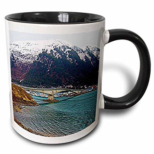 3dRose Sandy Mertens Alaska - Juneau-Douglas Bridge in Juneau, Alaska, Textured Print - 15oz Two-Tone Black Mug (mug_184370_9) ()