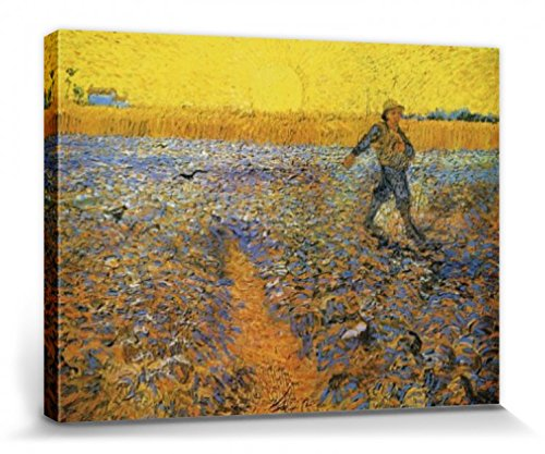 Set: Vincent Van Gogh, The Sower At Sunset After Millet, 1888 Stretched Canvas Print (32x24 inches) + 1x Promotional 1art1 Home Decor Item (Promotional Van)