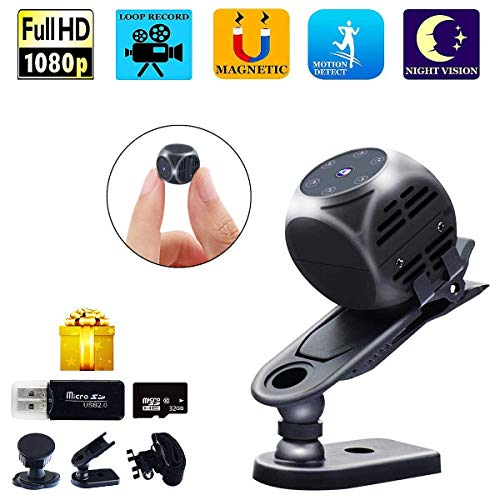 Car Spy Video (Spy Camera Wireless Hidden Gupacido Hidden Camera Mini Camera With 32GB TF Card/ Card Reader HD 1080P/720P Wireless Small Portable Night Vision Motion Detection Spy Cam for Home, Car, Drone, Office)
