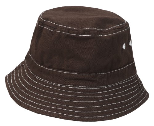 City Thread Unisex Baby Solid Wharf Hat Bucket Hat for Sun Protection SPF Beach Summer - Chocolate - M(6-18M) Infant Chocolate