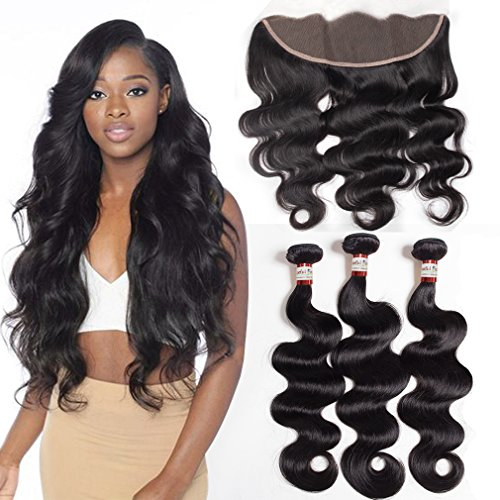 (3 bundles of Body Wave Hair with Frontal (18 20 22+16 Free Part) Brazilian Human Hair Ear to Ear Lace Frontal with Bundles Body Wave by Colorful Bird)