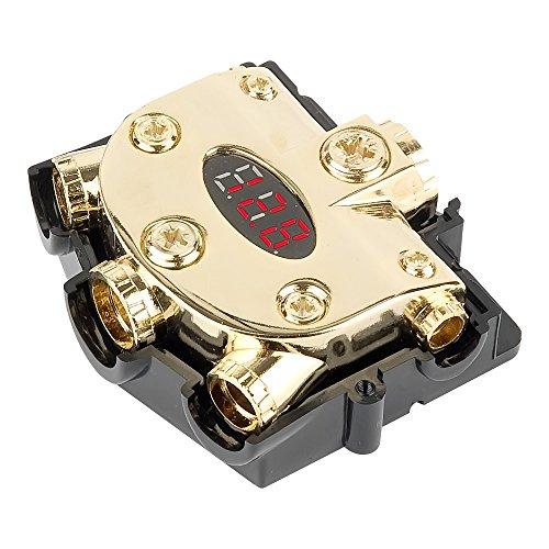 225FWY Gold Premium Digital Voltage Meter & Distribution Block 0 to 0/2/4/8 Gauge AWG Wire Splitter 0g ()
