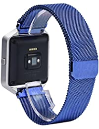 Milanese Magnetic Loop Stainless Steel Comfort Watch Band Strap Bracelet for Fitbit Blaze Blue