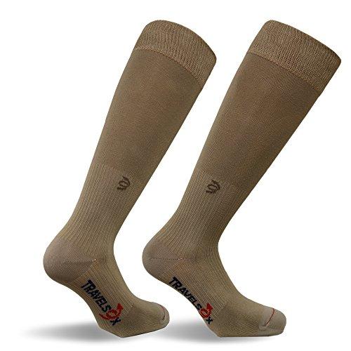 Travelsox Adult Compression Socks, Large, Khaki TSC1000HC (Best False Tan For Legs)