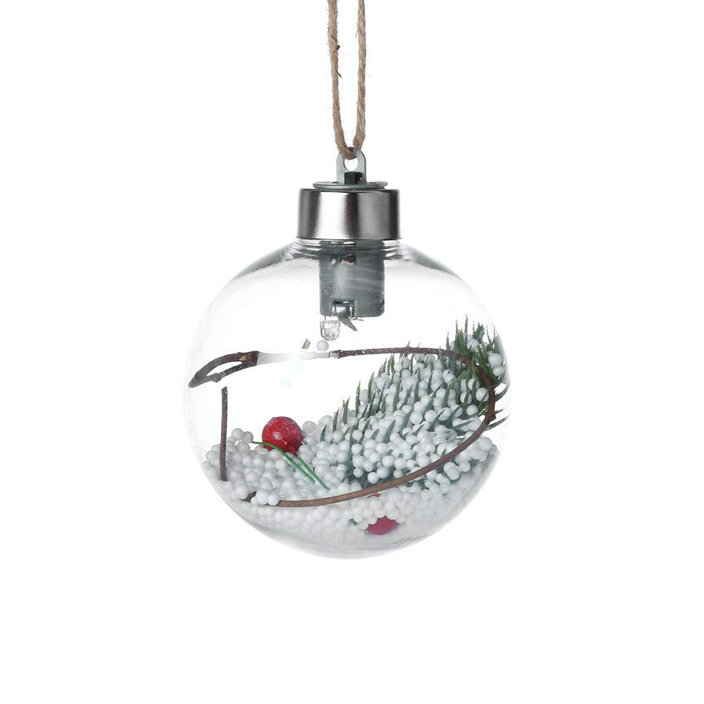 CYCTECH Christmas Tree Light Pendant Ornament PVC Shatterproof Decoration Party Wedding Hanging Ball 8cm (B)