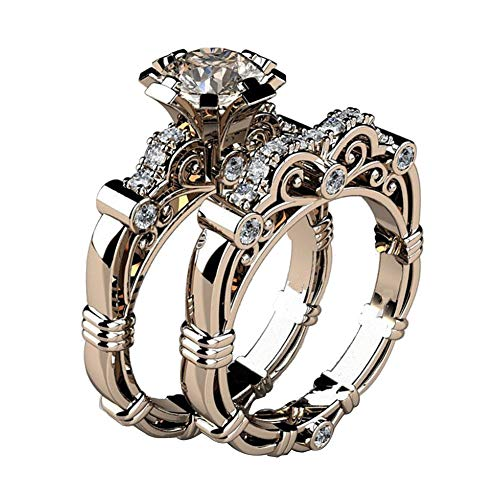 bromrefulgenc Elegant Ring for Women,2Pcs/Set Retro Women Rhinestone Carved Finger Ring Engagement Wedding Jewelry Rose Gold US 7 ()