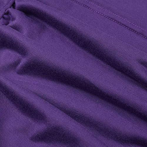 Morado Camiseta De Topkeal Sólida Fruncida Manga Tubo Blusa Mujer Corta qwTWTApnF