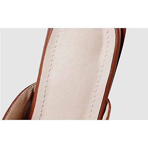 Scarpe Air Caramel Alti Pantofole da Alti da Donna Donna Retro Baotou Casual Tacchi 8FzOq7n8B