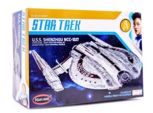 Polar Lights Star Trek Discovery USS Shenzhou - 1/2500 Scale Snap Assembly Plastic Model Kit - Buildable Vintage Spacheship for Kids and Adults