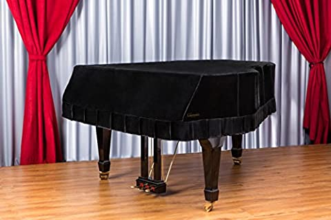 Clairevoire Grandeur: Classic Premium Velvet Grand Piano Cover for Yamaha C3 / C3X / DC3 / G3 [186cm|6 ft 1 inch] [Midnight (Baby Grand Piano Parts)