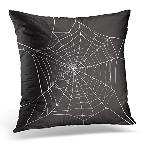 Kjalioeig-Throw Cushion Pillow Covers Black Halloween White Spider on Dark Spiderweb Animals Comfortable material Size: 18x18 Inch (Spider Pillow)