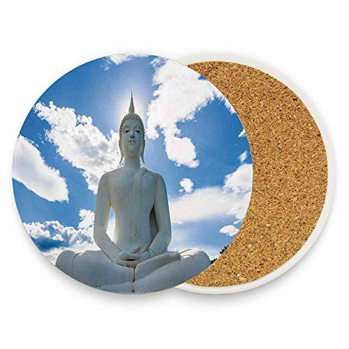 Coasters Mat Pack of 1,Coasters for Drinks,Funny Round Cup Mat Pad for Home and Kitchen - Praying Sculpture in Sunny Sky Oriental Hands
