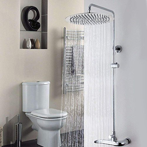 Large Rainfall Shower Head, Voolan 12'' High Flow Stainless Steel Bath Shower, High Pressure Adjustable Luxury Showerhead, Waterfall Full Body Coverage with Silicone Nozzle (12'' Round) by Voolan (Image #6)