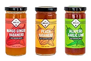 Mrs. G's Hot Pepper Jelly 3-Pack: Mango Ginger Habanero, Peach Habanero and Jalapeno Garlic Lime Jellies - Locally sourced and packaged in Southern California