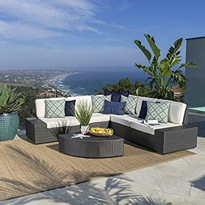 Christopher Knight Home Santa Cruz Outdoor Wicker Sectional Sofa Set with Water Resistant Cushions, 6-Pcs Set, Grey / White - Set includes: Two (2) end pieces, two (2) armless pieces, one (1) corner piece, and a table Materials: PE wicker, iron frame, water-resistant cushions   Upholstery color: Grey wicker and beige cushions Multiple arrangement possibilities. Sturdy construction. Neutral colors to match any decor. Softly padded seats. Perfect for poolside, your deck, or backyard space. - patio-furniture, patio, conversation-sets - 51XfCTEK4lL. SS400  -