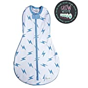 Woombie Grow with Me Baby Swaddle - Convertible Swaddle Fits Babies 0-9 Months - Expands to Wearable Blanket for Babies up to 18 Months (Blue Bolt)