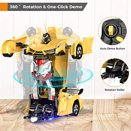 Desuccus Remote Control Car, Transform Robot RC Car for Kids, 2.4Ghz 1:18 Scale Model Racing Car with One-Button…