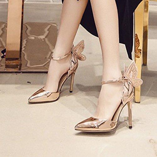 Aiguille Or Femmes Cheville Pompes Xianshu Sangle Hauts Bout Stereoscopic à Papillon Chaussures Pompes Pointu Talons de Escarpins 4dwqwaxOKp
