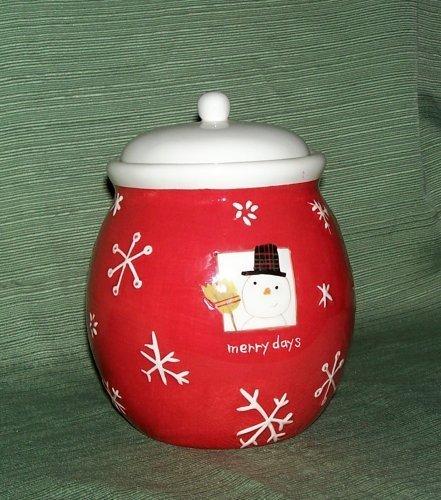Hallmark MERRY DAYS Red Snowman Cookie Jar w/snowflakes ()