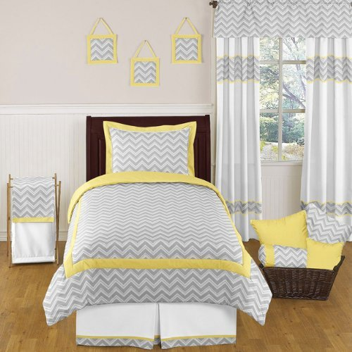 Sweet Jojo Designs 4-Piece Yellow and Gray Zig Zag Children's and Kids Bedding Boy or Girl Twin Set