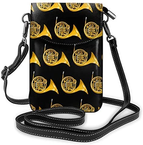 XCNGG bolso del teléfono Small Crossbody Cell Phone Purse Wallet with Credit Card Slots Lightweight Roomy Adjustable Shoulder Strap Golden French Horn Pattern Crossbody Bags Handbags for Women
