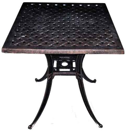 "ATC Design Antique Bronze Solid Cast Aluminum Square Table, 36"" L x 36"" W x 28"" H - Solid cast aluminum table with weave design table top Welded construction; durably powder coated and hand decorated to present an antique bronze look Adds a classic look to your outdoor space; search ""American Trading Company Weave Design"" for corresponding seating options - patio-tables, patio-furniture, patio - 51XfDSDVu%2BL -"