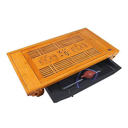 23.6 in Bamboo Tea Service Tray Wood Large Chinese Japanese Kungfu Tea Set Serving Tray Box Tabletop Tea Ceremory Party With Drainage for 6-8 Adults Home Hotel Kitchen Dinning Serveware