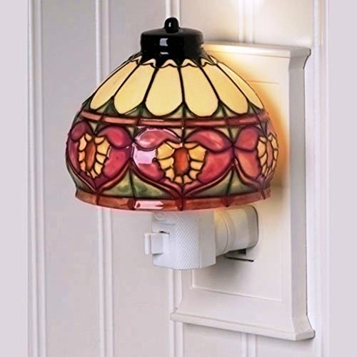 Ceramic Night Light - Heart Craftsman Style Stained Glass Look 4 inch Ceramic Plug-in Nightlight