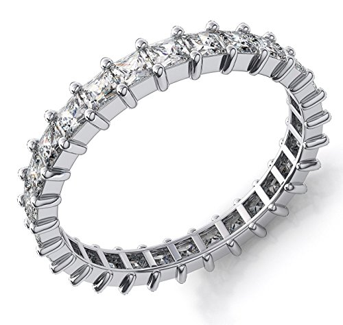 18K White Gold 4.2ct Princess Diamond SI1,SI2 G-H 3mm Eternity Band 4.3gr Ring Size 8 -  Zhannel, 538-31W-18-3-8