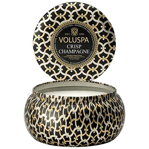 Voluspa Crisp Champagne 2 Wick Tin Candle, 11 Ounces