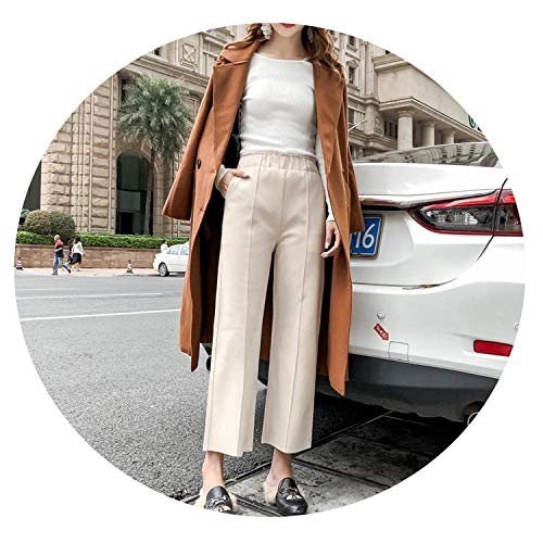 (Spring Women's Solid Pants High Elastic Waist Thick Pockets Ankle Length Wide Leg Pants Casual Fashion B91415J,Beige,XXL)