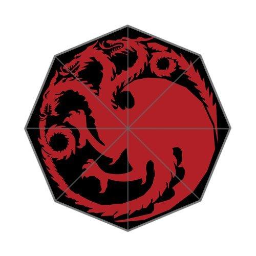 Blood and Fire Dragon Three-Head Red Dragon Pattern Custom Foldable Umbrella DIY Umbrella