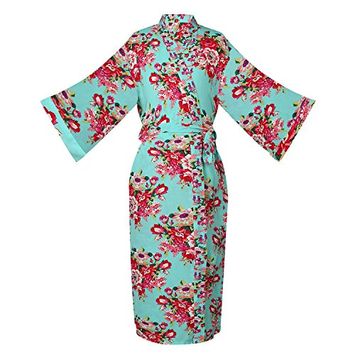ellenwell Women's Cotton Floral Wedding Robe - Bridesmaids Dressing Gown(large,Mint) Cotton Kimono Robe
