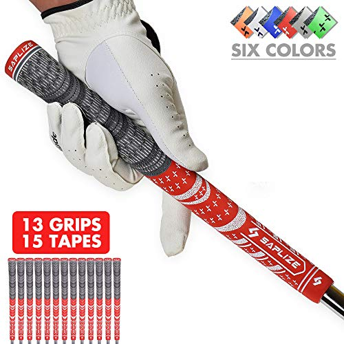 SAPLIZE Golf Grips(13 Grips + Tapes Bundle), Cord Rubber, Golf Club Grips, Mid Size, Red