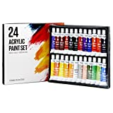 #3: Artlicious - 24 Tube Acrylic Paint Set - Great for Canvas Panels, Boards & Stretched Canvas